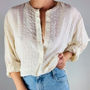Vintage Tops - Vintage Silk Cream Button Down Textured Tunic Top